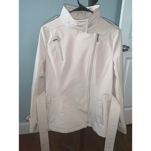 Kenneth Cole Soft Shell Asymmetrical zip belted